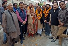MLA, Jammu West, Sat Sharma during his visit to Moga Mohalla on Thursday.