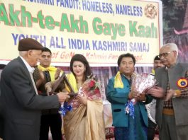 Two well known artists being honoured at YAIKS function at Jammu on Sunday.