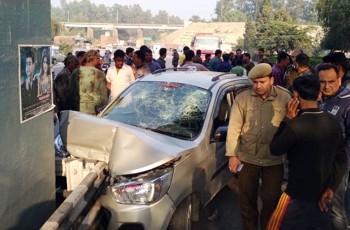 A car which met with an accident at Lakhanpur Toll Plaza on Wednesday. —Excelsior/Pardeep