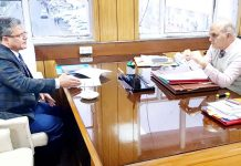 KCCI senior vice-president, Nasir Hamid Khan, in a meeting with Advisor, KK Sharma at Civil Secretariat, Jammu.