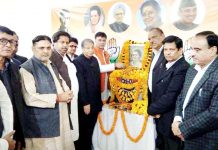 Senior Cong leaders paying floral tributes to former PM, Indira Gandhi on her birth anniversary at PCC office Jammu on Monday.