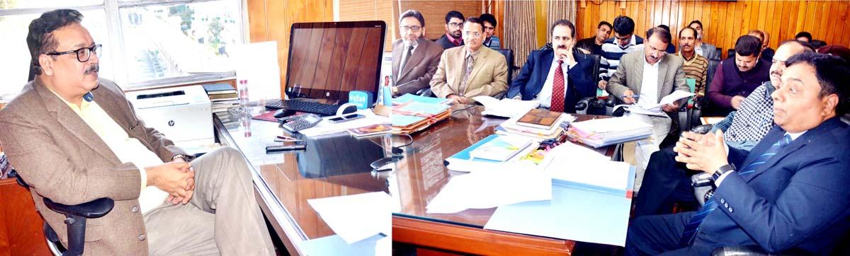 Principal Secretary Finance, Naveen Choudhary chairing a meeting in Jammu on Thursday.