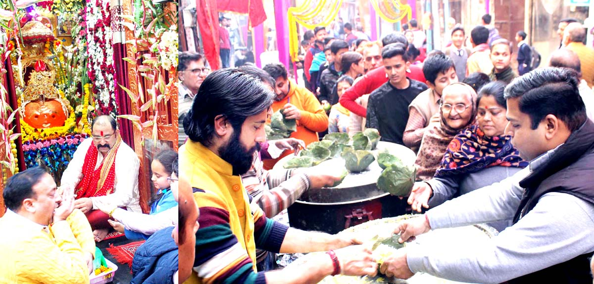 Pt Rumil Sharma performing Pooja at Bhairav Temple (left) and Bhandara being served to the devotees (right). -Excelsior/Rakesh