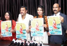 SSP Mohan Lal and Zorawar Singh releasing Sonali's Bhajan CD at Jammu on Saturday.