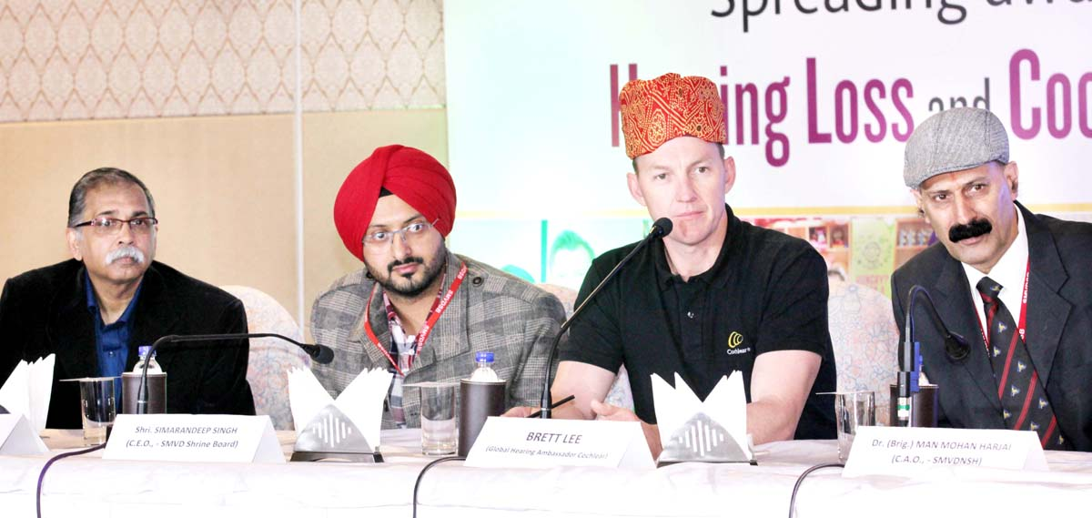 Australian Cricketer, Brett Lee along with Shri Mata Vaishno Devi Narayana Superspeciality Hospital team and CEO Shrine Board in a press conference at Jammu on Thursday. -Excelsior/Rakesh