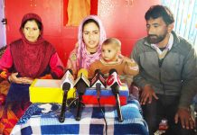 PG student Asma interacting with media persons at Bhadarwah on Sunday. —Excelsior/Tilak Raj