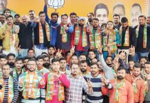 BJYM and BJP leaders during launch of 'Yuva Jodo Abhiyan' at Jammu on Sunday.
