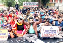 Saakshar Bharat Mission employees during a protest demonstration at Jammu on Tuesday.