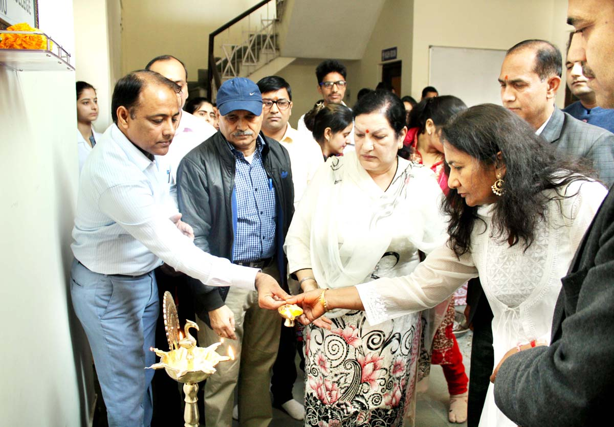 Principal GMC & Ayurvedic College, Jammu, Dr Sunanda Raina lighting the lamp during celebration of Lord Dhanwantri Jayanti at Jammu.