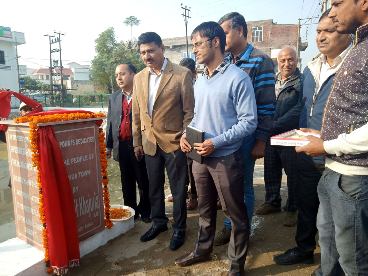 DDC, Kathua, Rohit Khajuria inangurating newly renovated pond & garden at Kathua on Thursday. -Excelsior/Pardeep
