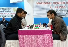 Chess players showing keen interest during Senior National Chess Championship at Jammu on Wednesday. —Excelsior/Rakesh