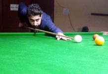 A cueist in action during Six Red Ball match at Billiards Hall, MA Stadium Jammu on Wednesday. —Excelsior/Rakesh