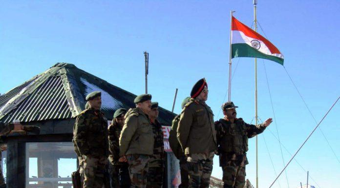 Northern Command chief Lt Gen Ranbir Singh at a forward post in Kashmir on Monday.