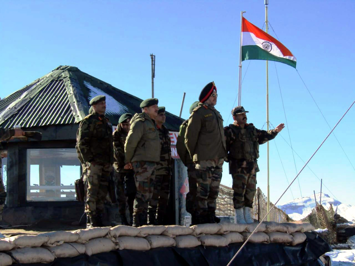 Northern Command chief Lt Gen Ranbir Singh at a forward post in Kashmir on Monday.