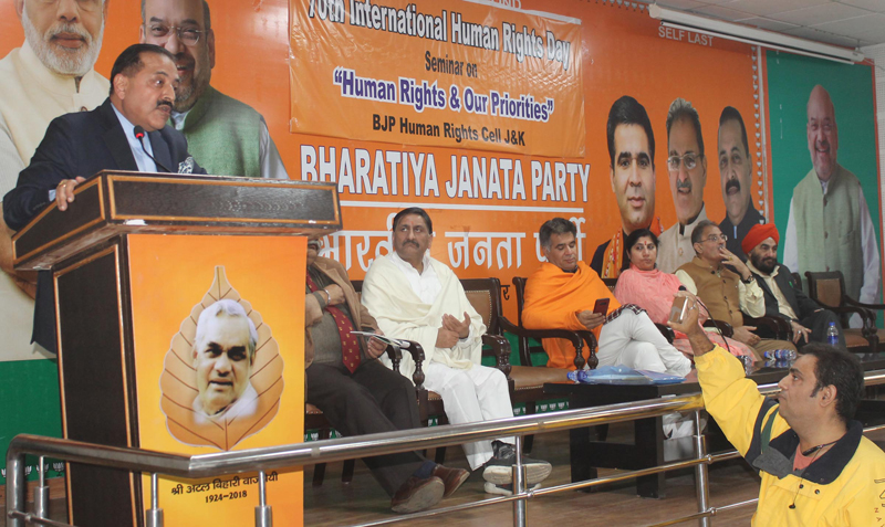 Union Minister Dr Jitendra Singh addressing a seminar on 'Human Rights' at BJP headquarters in Jammu on Sunday. —Excelsior/Rakesh