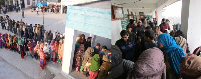 Long queues of voters at Bajalta in Jammu (left) and Kupwara in Kashmir on Saturday. —Excelsior pics by Rakesh & Aabid Nabi