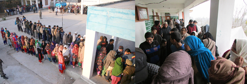 Long queues of voters at Bajalta in Jammu (left) and Kupwara in Kashmir on Saturday. —Excelsior pics by Rakesh & Aabid Nabi