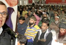 Former Chief Minister, Omar Abdullah addressing NC convention in Jammu on Monday. -Excelsior/Rakesh