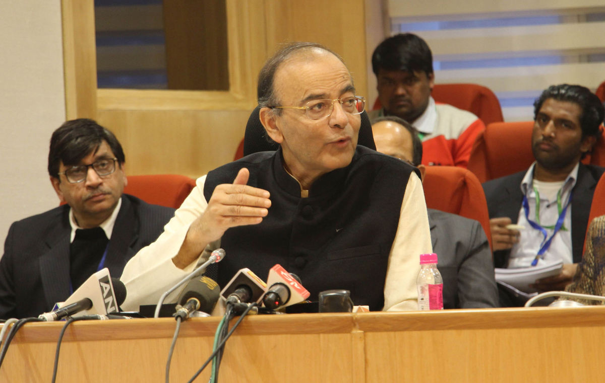 Union Finance Minister Arun Jaitley addressing a press conference after 31st Goods and Services Tax (GST) Council meeting at Vigyan Bhavan in New Delhi on Saturday. (UNI)