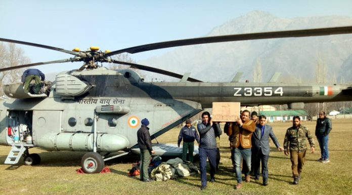 Dead bodies of labourers brought to Uri in an Army helicopter on Sunday. —Excelsior/Aabid Nabi