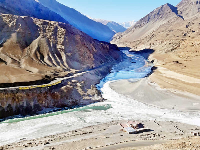 Frozen Indus and Zanskar rivers junction, which is popularly known as Sangam, a famous rafting point for tourists during summer in Leh. -Excelsior/Morup Stanzin