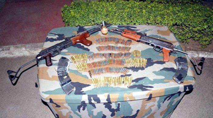 Arms and ammunition recovered at Billawar in Kathua district on Saturday.