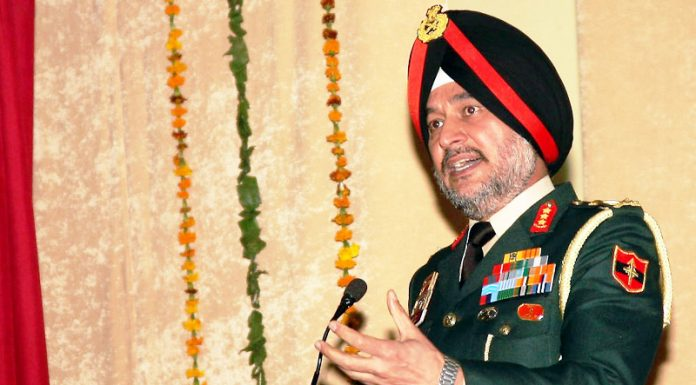 Lt. General Ranbir Singh, Northern Command chief at an alumni meet of Sainik School, Kaputhala on Saturday.