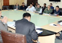 Principal Secretary Planning Rohit Kansal presiding over a meeting in Jammu on Friday.