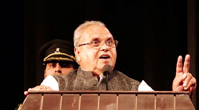 Governor Satya Pal Malik addressing Rajya Sainik Board function in Jammu on Wednesday.