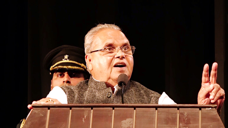 Governor Satya Pal Malik addressing Rajya Sainik Board function in Jammu on Wednesday.