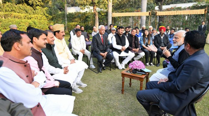 The newly elected Sarpanchs from Jammu and Kashmir calling on Prime Minister, Narendra Modi in New Delhi on Wednesday.