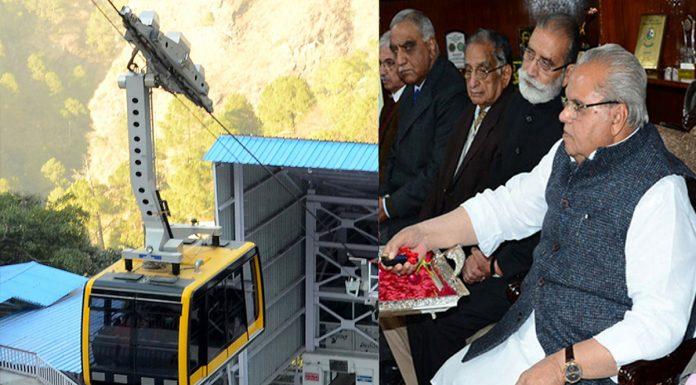 Governor Satya Pal Malik e-inaugurating Bhawan-Bhairon Ghati ropeway project from Raj Bhawan in Jammu on Monday.