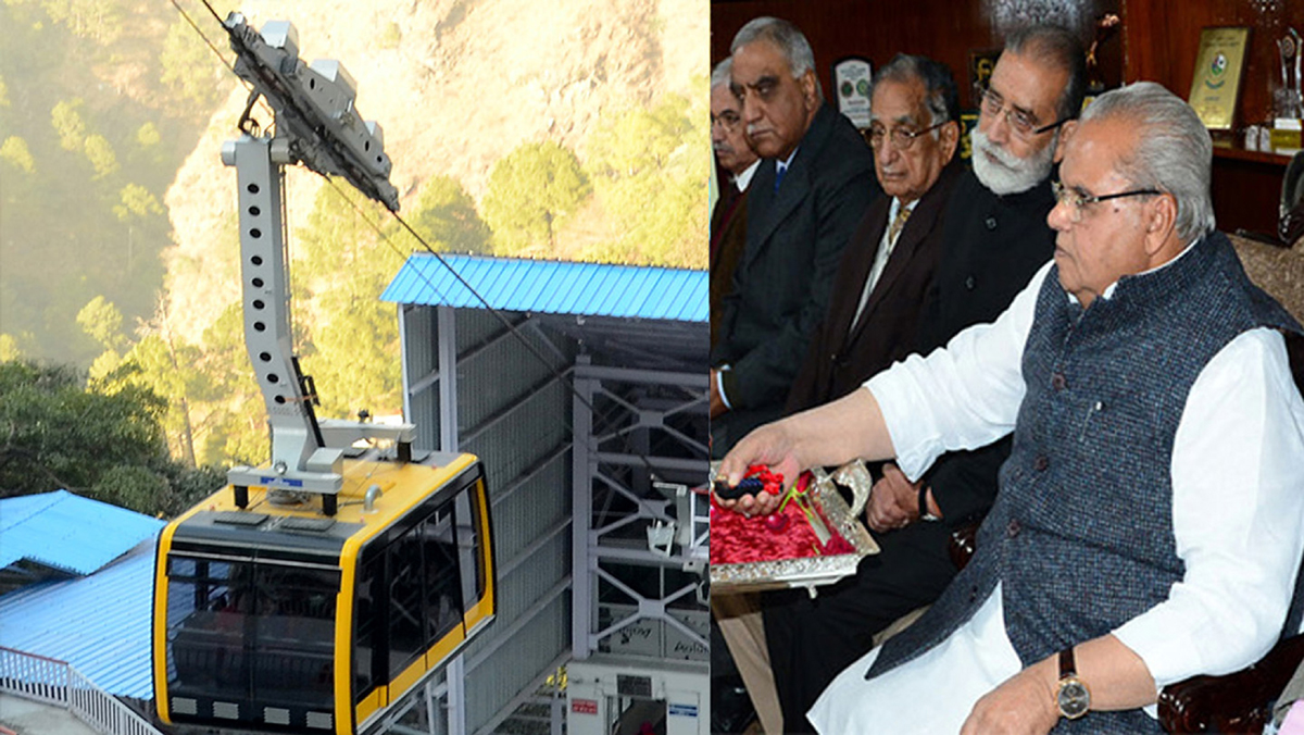Governor Satya Pal Malik e-inaugurating Bhawan-Bhairon Ghati ropeway project from Raj Bhawan in Jammu on Monday.