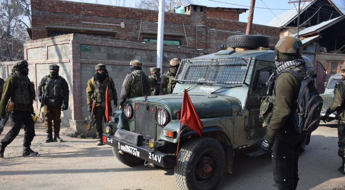 Troops during gun battle at Pulwama on Saturday. —Excelsior/Younis Khaliq