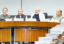 Prime Minister Narendra Modi at an all party meeting ahead of the winter session of Parliament in New Delhi on Monday.