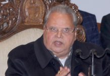 Governor Satya Pal Malik addressing a press conference in Jammu on Wednesday. —Excelsior/Rakesh