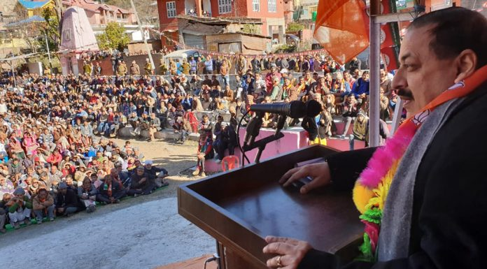 Union Minister, Dr Jitendra Singh addressing a public rally at Bani on Saturday.