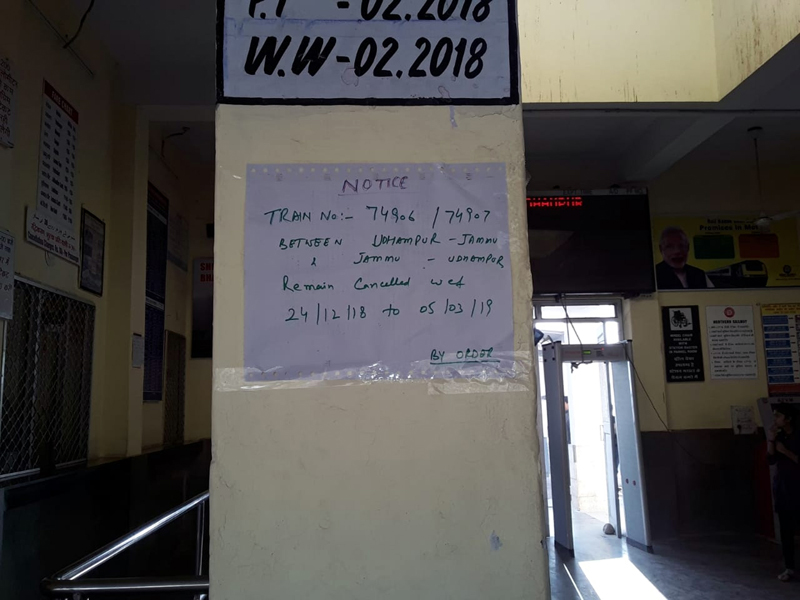 A notice pasted at Udhampur Railway Station informing about suspension of DMU service between Jammu-Udhampur & vice versa till March 5, 2019.