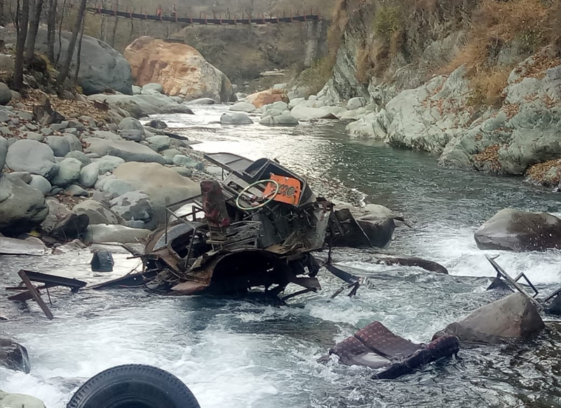 Wreckage of bus, which met with accident in Mandi area of Poonch, lying in Mallah on Saturday. —Excelsior/Ramesh Bali