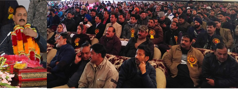 Union Minister, Dr Jitendra Singh addressing the gathering after laying the foundation stone of the first-ever, 'National Institute of High Altitude Medicine' at Bhaderwah on Saturday —Excelsior/Tilak Raj