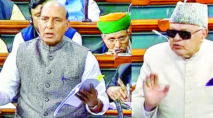 Union Home Minister Rajnath Singh and NC president Dr Farooq Abdullah speaking in Lok Sabha on Friday.