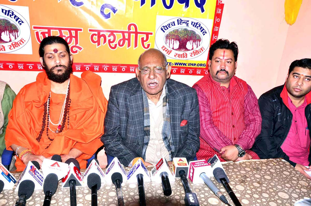 VHP President, Leela Karan Sharma at a press conference at Jammu on Wednesday. -Excelsior/Rakesh