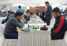 Chess players showing keen interest during Senior National Chess Championship at Jammu on Monday. —Excelsior/Rakesh