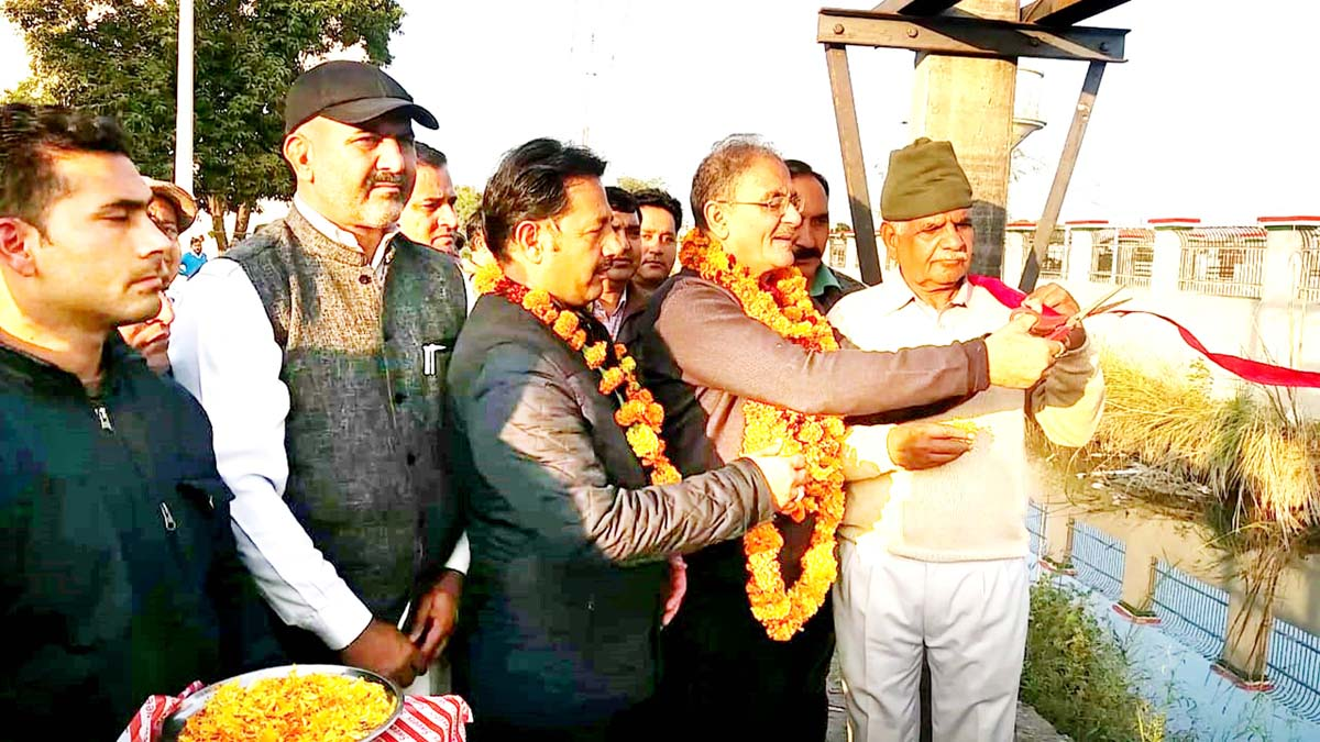 Former DyCM, Kavinder Gupta taking stock of basic infrastructure in interior areas of Gangyal on Friday.