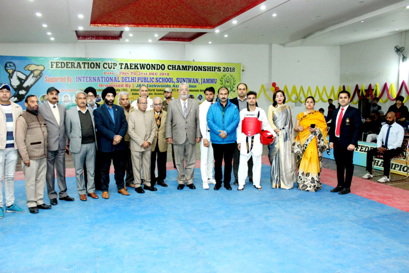Dignitaries during inauguration of Federation Cup at IDPS Sunjwan Jammu on Sunday.