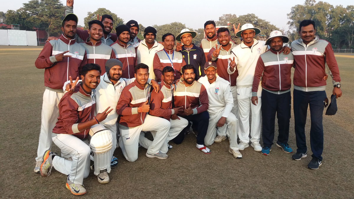 Odisha Ranji Trophy team posing for a group photograph after beating J&K in Jammu.