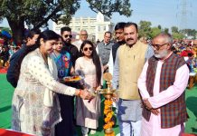Deputy Mayor JMC Purnima Sharma lighting ceremonial lamp to inaugurate Annual Day celebrations.