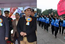 Governor Satya Pal Malik taking salute while inaugurating NSG U-17 Football Tournament on Monday.
