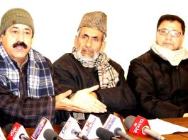 Newly elected Panchs and Sarpanchs addressing press conference in Srinagar on Friday. -Excelsior/Shakeel