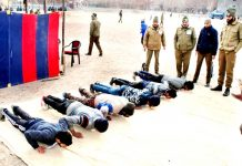 Youth appearing in a test for the post of SPOs in Kargil.